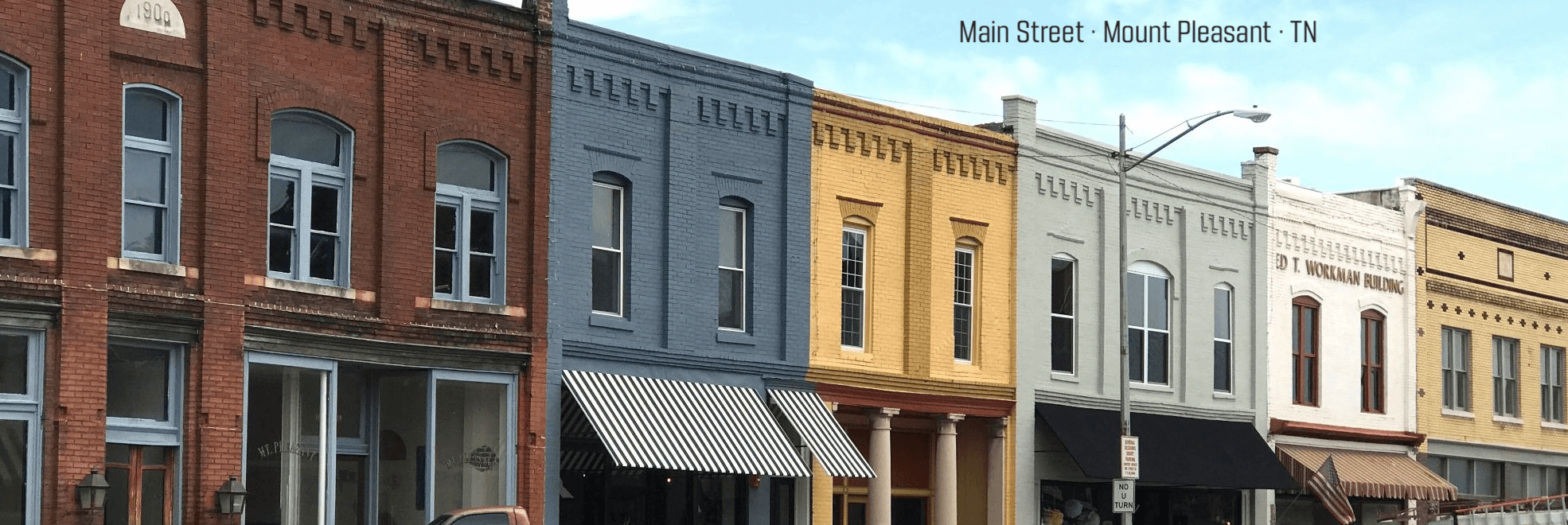 Downtown Mount Pleasant, TN. Photo from TNECD.